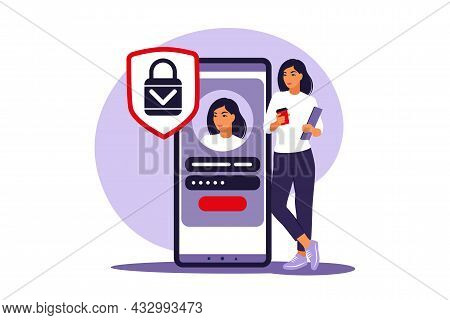 Sign Up Concept. Young Woman Signing Up Or Login To Online Account On Smartphone App. Secure Login A