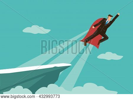 Super Businessman Flying From The Mountain Cliff Into The Sky. Corporate Concept Of Success And Prof