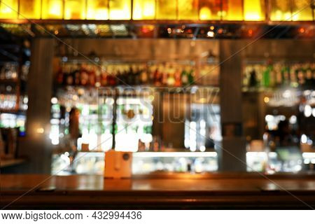 Blurred View Of Bar Counter In Cafe