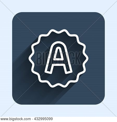 White Line Exam Sheet With A Plus Grade Icon Isolated With Long Shadow Background. Test Paper, Exam,