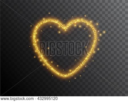Light Effect Heart Shaped On A Black Background. Gold Glowing Neon Heart With Luminous Dust And Glar