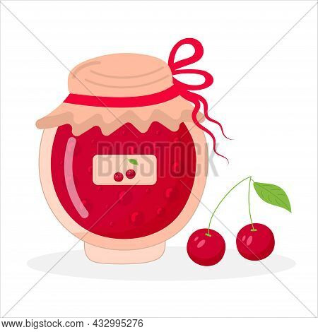 Cherry Jam Jar And Cherry. Food And Cooking. Vector Illustration.