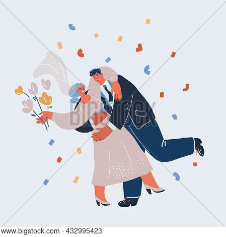 Vector Illustration Of Romantic Bride And Groom Dancing. Wedding Dance Isolated.