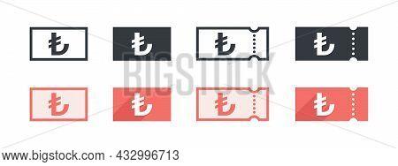 Turkish Lira Money Sign. Turkish Lira Coupon. Sign Of Payment By The Turkish Lira. Vector Illustrati