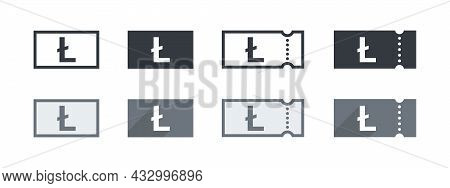 Litecoin Money Sign. Litecoin Coupon. Sign Of Payment By The Litecoin. Vector Illustration