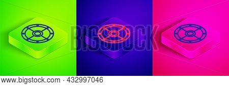 Isometric Line Round Wooden Shield Icon Isolated On Green, Blue And Pink Background. Security, Safet
