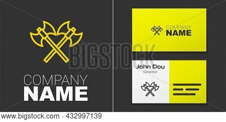 Logotype Line Crossed Medieval Axes Icon Isolated On Grey Background. Battle Axe, Executioner Axe. M