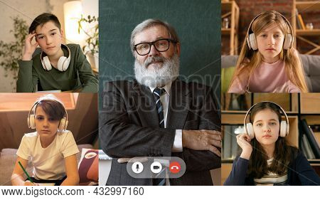 Group Of Boys And Girls, Students Studying By Group Video Conference With Each Other And Old Profess