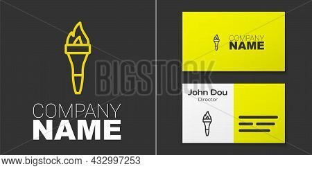 Logotype Line Torch Flame Icon Isolated On Grey Background. Symbol Fire Hot, Flame Power, Flaming An
