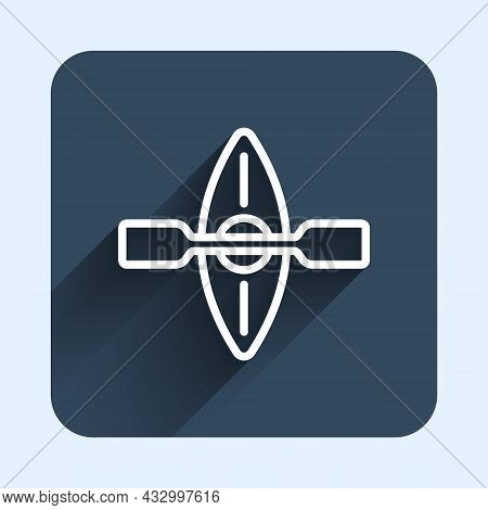 White Line Kayak And Paddle Icon Isolated With Long Shadow Background. Kayak And Canoe For Fishing A