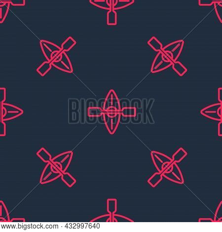 Red Line Kayak And Paddle Icon Isolated Seamless Pattern On Black Background. Kayak And Canoe For Fi