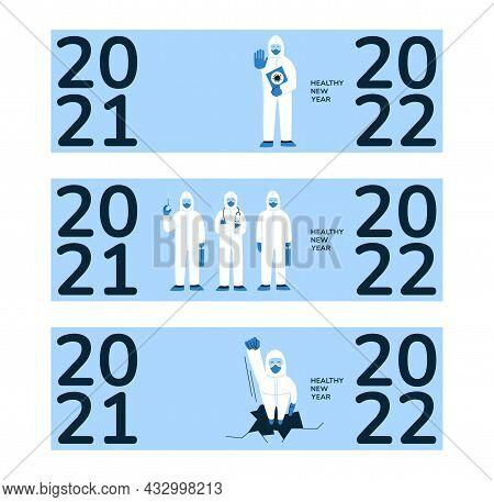 Vector Set. Horizontal 2022 New Year Banners. Poster Design Concept. Doctors, Nurses, Medical Staff