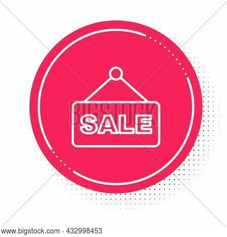 White Line Hanging Sign With Text Sale Icon Isolated On White Background. Signboard With Text Sale.