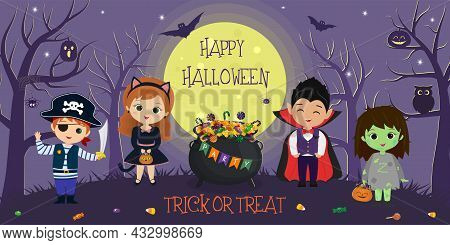 Happy Halloween. Halloween Kids Characters In Different Costumes On The Background Of The Full Moon