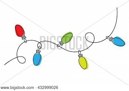 Colorful Glow Light Lamp On Wire Strings.christmas Lights Bulbs Garland For Holiday, Merry Christmas