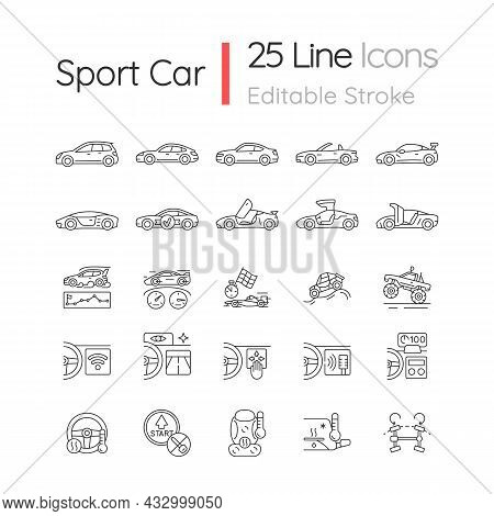 Auto Racing Linear Icons Set. Driving Sports Cars. Innovative Tech Features. Exterior Design. Custom