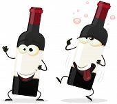 Illustration of a couple of funny cartoon red wine alcohol bottles with a happy one and another drunk staggering poster