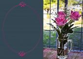 Lovely roses in a mug on a kitchen table with a fractal affect and message area available for fill-in on the left. poster