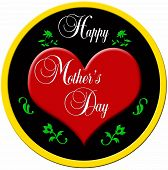 Decorative badge with a red plastic heart and a golden border with the decorative lettering MOTHERS DAY poster