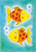 Two golden fish, child's drawing, watercolor painting on canvas paper poster