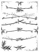 Set of border and corner asymmetric decoration from bamboo in the Asian style drawn by ink. poster