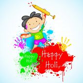 Illustration of kids playing holi with color and pichkari poster