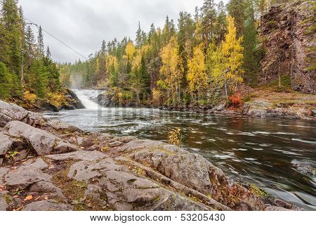 Flowing Mountain River In Autumn