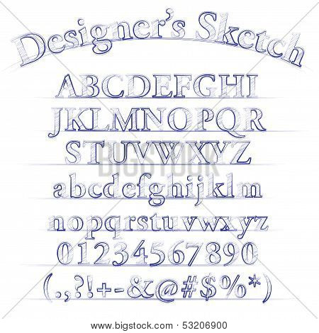 Vector Designer Sketch Alphabet