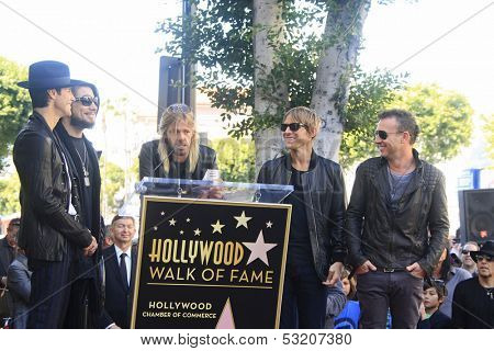 LOS ANGELES - OCT 30: Perry Farrell, Dave Navarro, Taylor Hawkins, Stephen Perkins, Chris Chaney as 'Jane's Addiction' was honored with a star _ Walk of Fame on October 30, 2013 in Los Angeles, CA