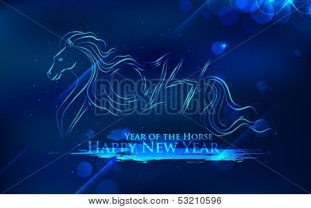 illustration of abstract Horse New Year 2014