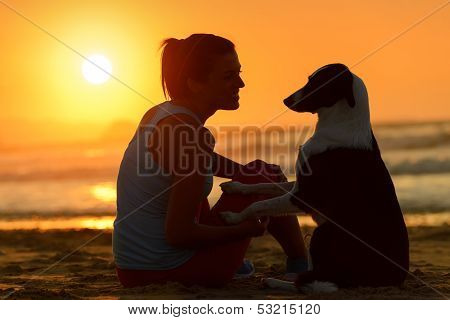 Woman And Dog Together At Sunset