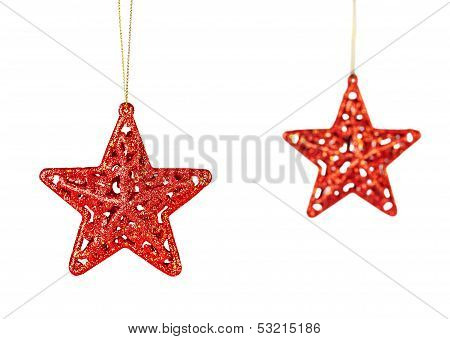 Christmas Decoration. Red Stars Isolated On White Background. Selective Focus