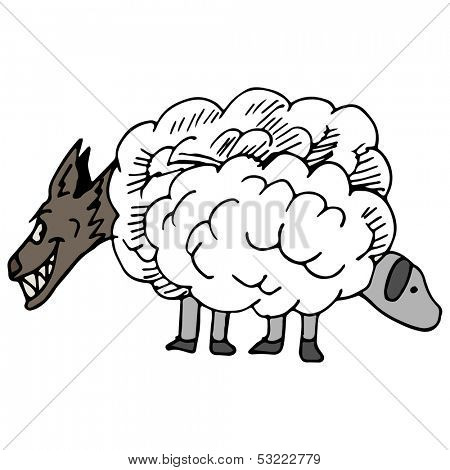 An image of a wolf in sheeps clothing.
