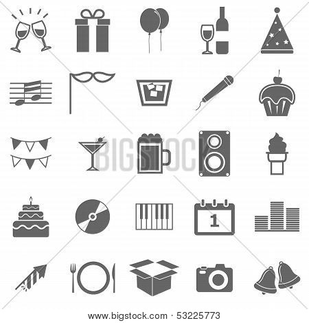 New Year Icons On White Background