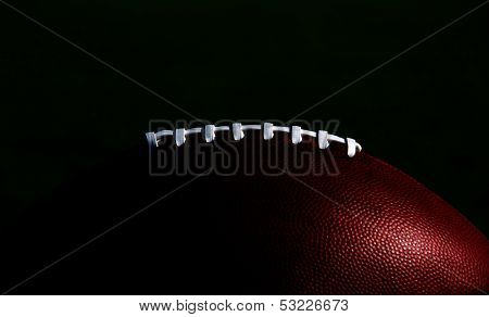 American Football Laces Isolated and Highlighted for Effect and Copy Space