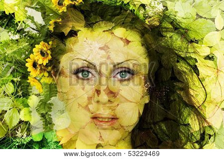 Abstract Beautiful Girl With Flowers On A Face