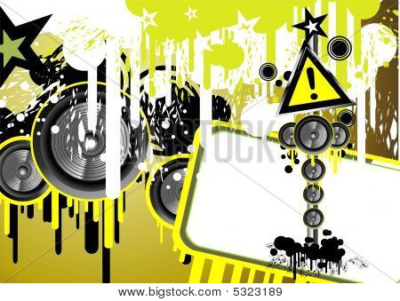 Grunge Danger music frame background with colorful lights poster