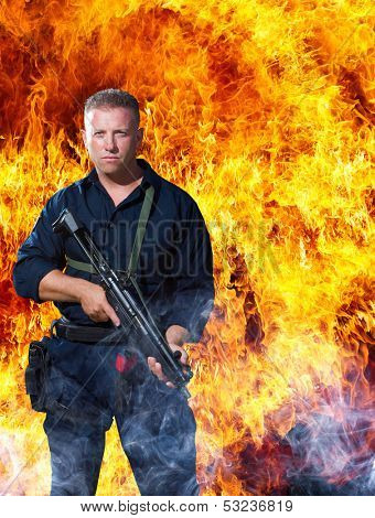 Commando over explosion background