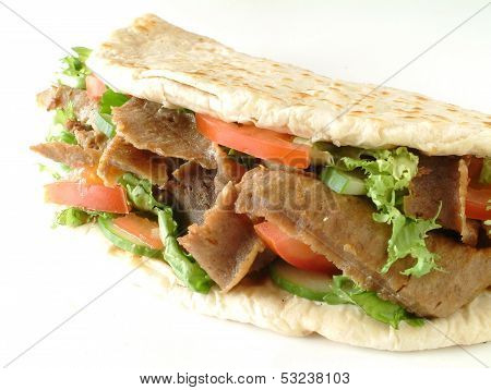 Donner meat wrapped in Indian Naan bread