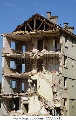 France, Demolition Of An Old Building In Les Mureaux