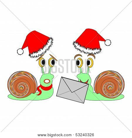 Two Funny Christmas Cartoon Snails With A Letter