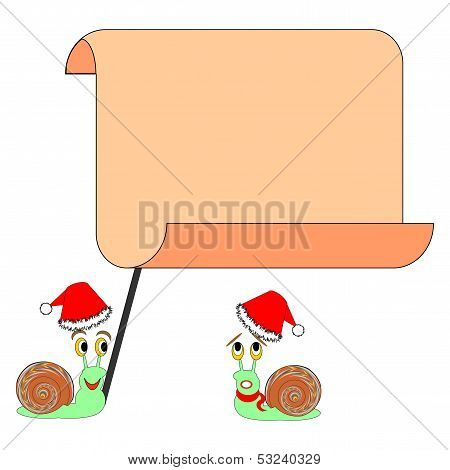 Two Funny Christmas Cartoon Snails With A Big Blank Paper