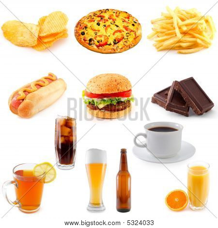 set of fast food abundance, junk, background, poster