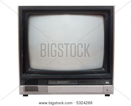 Very Old Tv Set Isolated Over White In Studio.