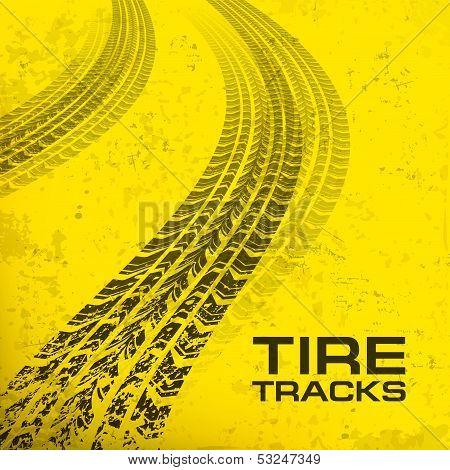 Tire Tracks On Yellow