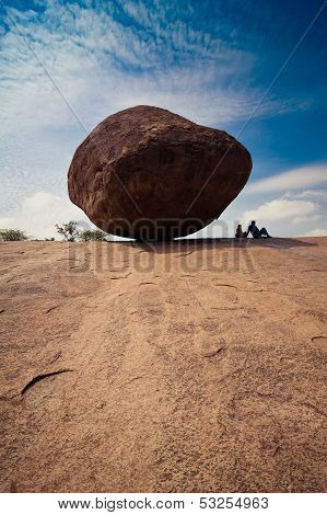 Big balancing rock at Mahabalipuram