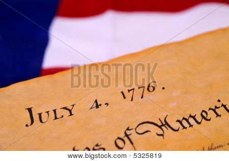 Declaration of Independence with United States flag background poster