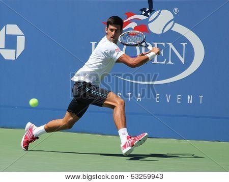 Professional tennis player Novak Djokovic practices for US Open 2013