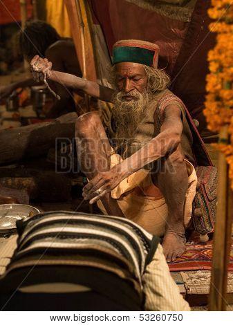 Mahant Amar Bharti Ji Giving Blessings at Kumbh Mela 2013