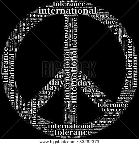 Tag or wor cloud international tolerance day related in shape of peace symbol poster